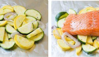 Семга запеченная в духовке с овощами